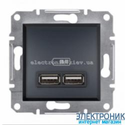 Розетка Schneider (Шнайдер) Asfora USB двойная  2,1A антрацит