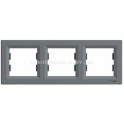 Рамка Schneider (Шнайдер) Asfora Plus 3-постовая горизонтальная сталь