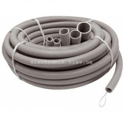 Труба горфированная ∅16 мм, стандартная с протяжкой, цвет серый, 100 метров