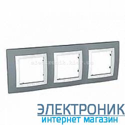 Рамка Schneider (Шнайдер) Unica Basic 3-постовая с декоративным элементом серая/техно белая