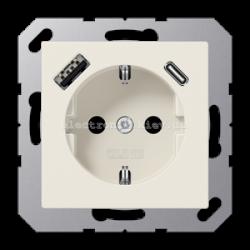 Розетка электрическая с заземлением 16А + USB зарядка тип А+С JUNG Eco Profi Слоновая кость