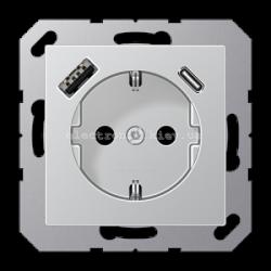Розетка электрическая с заземлением 16А+ USB зарядка тип А+С Eco Profi Алюминий