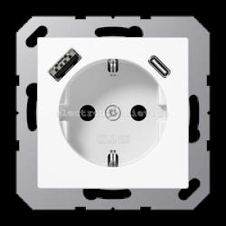 Розетка электрическая с заземлением 16А + USB зарядка тип A+С JUNG Eco Profi Белый