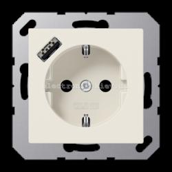 Розетка электрическая с заземлением 16А + USB зарядка тип A JUNG Eco Profi Слоновая кость