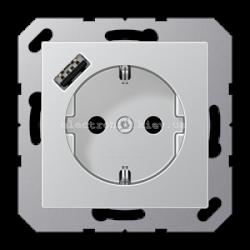 Розетка электрическая с заземлением 16А+ USB зарядка тип A Eco Profi Алюминий