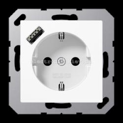 Розетка электрическая с заземлением 16А + USB зарядка тип А JUNG Eco Profi Белый