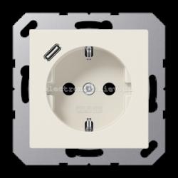 Розетка электрическая с заземлением 16А + USB зарядка тип С JUNG Eco Profi Слоновая кость