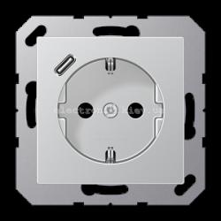 Розетка электрическая с заземлением 16А+ USB зарядка тип С Eco Profi Алюминий