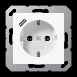 Розетка электрическая с заземлением 16А + USB зарядка тип С JUNG Eco Profi Белый