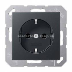 Розетка электрическая с заземлением 16А JUNG Eco Profi Черный мат