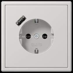 Розетка с заземлением +USB type A | fast charge JUNG LS990 светло-серый
