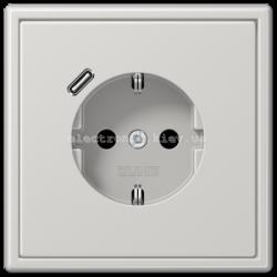 Розетка с заземлением +USB type C | fast charge JUNG LS990 светло-серый