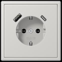 Розетка с заземлением +USB | type A + type C  JUNG LS990 светло-серый