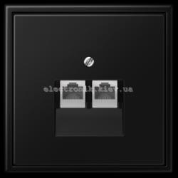 Розетка компьютерная RG 45 двойная JUNG LS990 черный матовый