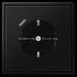Розетка с заземлением +USB type C | fast charge JUNG LS990 черный матовый