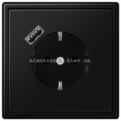 Розетка с заземлением +USB type A | fast charge JUNG LS990 черный матовый