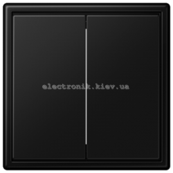 Выключатель двухклавишный проходной JUNG LS990 черный матовый
