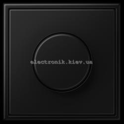 """Диммер поворотно-нажимной """"стандарт"""" ЛН, ВВ галог. 20-210Вт / люминисц., 3-60Вт, LV-LED 60Вт JUNG LS990 черный матовый"""