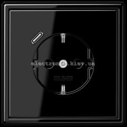 Розетка с заземлением +USB type C | fast charge JUNG LS990 черный глянец