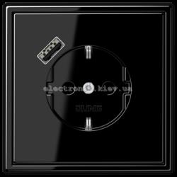 Розетка с заземлением +USB type A | fast charge JUNG LS990 черный глянец