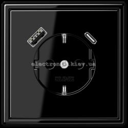 Розетка с заземлением +USB | type A + type C  JUNG LS990 черный глянец