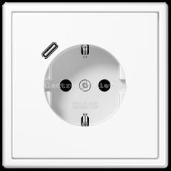 Розетка с заземлением +USB type C | fast charge JUNG LS990 белый
