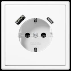 Розетка с заземлением +USB | type A + type C  JUNG LS990 белый
