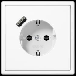 Розетка с заземлением +USB type A | fast charge JUNG LS990 белый