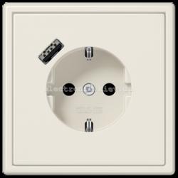 Розетка с заземлением +USB type A | fast charge JUNG LS990 крем