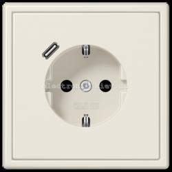 Розетка с заземлением +USB type C | fast charge JUNG LS990 крем
