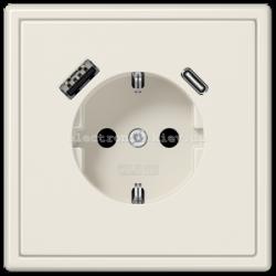 Розетка с заземлением +USB | type A + type C  JUNG LS990 крем