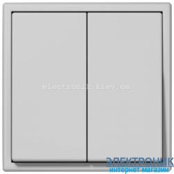 Выключатель двухклавишный проходной JUNG LS990 светло-серый