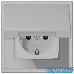 Розетка с крышкой JUNG LS990 светло-серый