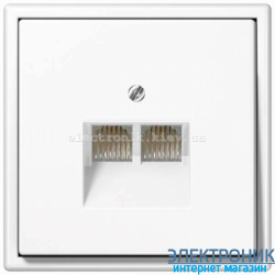Розетка компьютерная RG 45 двойная JUNG LS990 белый