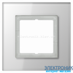 Рамка 1-ая LS PLUS Белое стекло