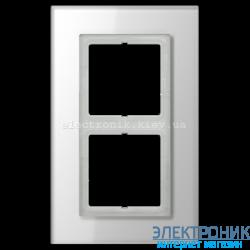 Рамка 2-ая LS PLUS Белое стекло