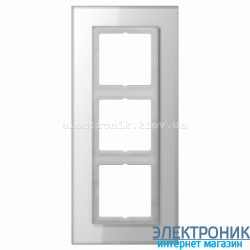 Рамка 3-ая LS PLUS Белое стекло