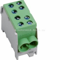 Модульная вводная 1-полюсная клемма 2x35/2x25, 63А, зеленая Hager
