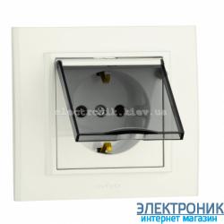 Розетка MINA 1-я с з/з  и крышкой белая OVIVO