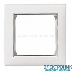 Рамка однопостовая Legrand Valena (белый/серебряный штрих)
