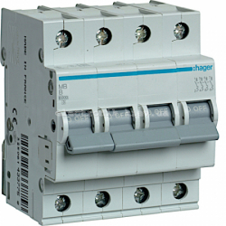 Выключатель автоматический Hager 4P B 50А MB450A