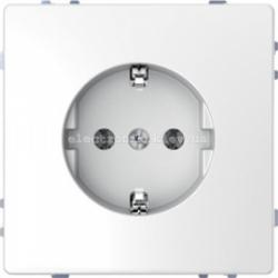 Розетка 1-ая электрическая, с заземлением (безвинтовой зажим) и защитными шторками, цвет Белый лотос, Schneider Merten D-Life