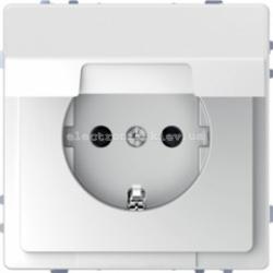 Розетка 1-ая электрическая, с заземлением и крышкой, защитными шторками, цвет Белый лотос, Schneider Merten D-Life
