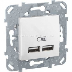 Розетка 2х USB-выход для зарядки 2-модуля Schneider (Шнайдер) Unica белая