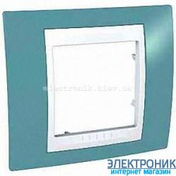 Рамка одноместная Schneider (Шнайдер) Unica Plus Синий/Белый