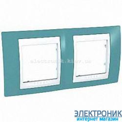 Рамка двухместная Schneider (Шнайдер) Unica Plus горизонтальная Синий/Белый