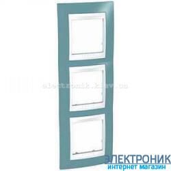 Рамка трехместная Schneider (Шнайдер) Unica Plus вертикальная Синий/Белый