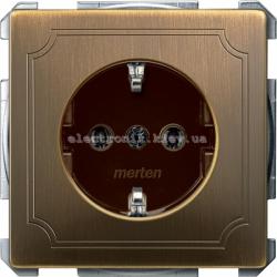 Розетка с заземлением Merten System Design Античная латунь