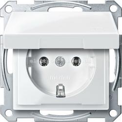 Розетка с заземлением и крышкой Schneider Electric Merten System M полярно-белый
