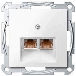 Розетка компьютерная двойная RJ45 UTP Schneider Electric Merten System M полярно-белый